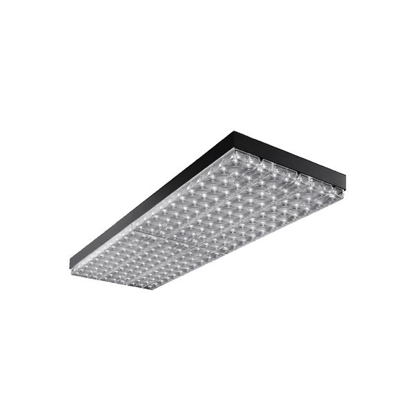 Die Einlegeleuchte DIAMANT TRACK R EL kann als Retailleuchte in Systemdecken mit sichtbaren Tragschienen im 600 mm oder 625 mm Raster eingesetzt werden.